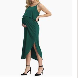 Maternity Forrest Green Spaghetti Strap Midi Dress
